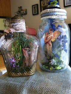 more of the captured fairies i have made Mason Jar Crafts, Bottle Crafts, Mason Jars, Fairy Lanterns, Fairy Jars, Jar Art, Fairy Crafts, Altered Bottles, Art N Craft