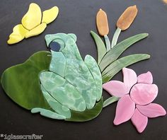 Adorable frog on lily pad. Precut stained glass inlay kit. Great for mosaic projects. Many kits on Ebay or contact me rachellkratzer@aol.com
