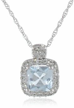 "Amazon.com: 10K White Gold Aquamarine and Diamond Pendant Necklace (.1 Cttw, G-H Color, I1-I2 Clarity), 17"": Jewelry"