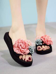 55069bb90e Shein Floral Decor Open Toe Sliders Sliders