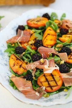 grilled peach, blackberry, pistachio and prosciutto salad.