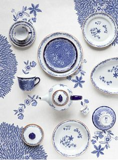 Love the concept of blue doodle tablecloth as a backdrop for blue and white dishes