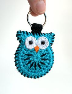 Crochet owl keychain hand made crochet owl keyring by MikiJensen, $18.00