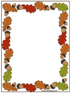cornicetta-autunno-colorata Borders For Paper, Borders And Frames, Page Boarders, Fall Clip Art, Boarder Designs, Leaf Border, Frame Clipart, Stationery Paper, Autumn Activities