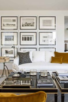 Cottage Home Interior Gallery wall in the living room. Design by Studio Maria Santos Living Room Interior, Home Living Room, Home Interior Design, Living Room Designs, Living Room Decor, Living Spaces, White Couch Living Room, Style At Home, Modern House Design