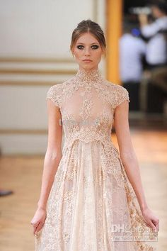 2014 New Collection Zuhair Murad Empire Bridal Gown Wedding Dresses With High Neck See Through Short Sleeve Beach Sheer Champagne Lace