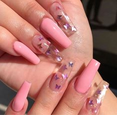 Nail Art Design 40 Stylish Fun Design - Inspired Beauty Nail Art Design 40 Stylish Fun Design - Inspired Beauty,make up n nails Nail Art Design - Inspired Beauty art designs ideas nail designs nails nails Colorful Nail Designs, Cute Acrylic Nail Designs, Colourful Nails, Clear Nail Designs, Butterfly Nail Designs, Clear Nails With Design, Coffin Nails Designs Summer, Butterfly Nail Art, Acrylic Nails With Design