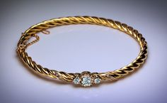 Antique Diamond and 14K Gold Swirl Bracelet from romanovrussia on Ruby Lane