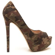 High Voltage Camo Platform Pumps ($26) ❤ liked on Polyvore featuring shoes, pumps, green, peep toe pumps, platform stilettos, peeptoe pumps, platform stiletto pumps and high heel stilettos