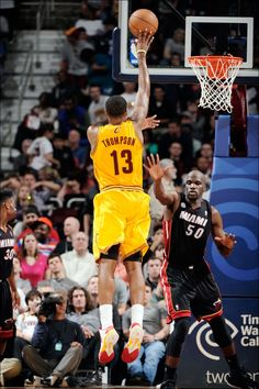 Forward Tristan Thompson puts up the floater against the Miami Heat at Quicken Loans Arena in Cleveland, Ohio - photo courtesy of David Liam Kyle / NBAE via Getty Images. Basketball Teams, Sports Teams, Michael Jordan Poster, Quicken Loans Arena, Tristan Thompson, Team Player, Cleveland Ohio, Miami Heat, Cavalier