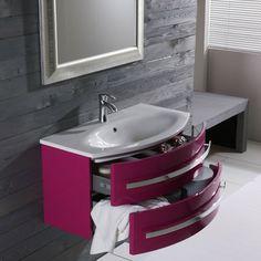 meuble salle de bain laque rose