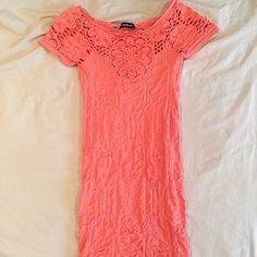 BeBe bodycon mini dress, coral,size S,worn ONCE Gorgeous BeBe coral bodycon mini dress, perfect for summer.  Hits below hips. bebe Dresses Mini