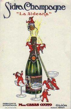 Antiguo anuncio de LA ALDEANA, sidra champagne de Gijón