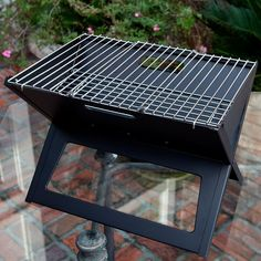 Fire Sense Notebook Charcoal Grill, Black