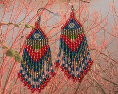 Native American Style - BLUE, RED, GREEN Beaded Earrings - Seed Bead and Bugle Bead Earrings With Fringe - 2 inches long - Lovely to look at
