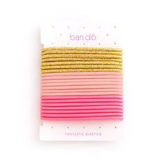 fantastic hair elastics - metallic gold / blush / neon pink