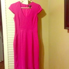 H&M V-neck,cocktail style dress cocktail H&M in size US 8/eight.Super cute hot pink dress  Rarely ever worn and great for a formal evening out, a day of work at the office with some s or dress it down with some cute flats. Pair it with a blazer or a large scarf or cooler days. Wear with pearl or whatever other accessory style of your choice  H&M Dresses Midi