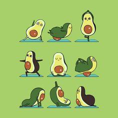 Avocado Yoga Canvas Print by huebucket Avocado Art, Cute Avocado, Yoga Illustration, Creative Illustration, Funny Doodles, Cute Cartoon Drawings, Cute Patterns Wallpaper, Cute Cartoon Wallpapers, Disney Wallpaper