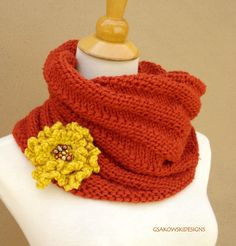 Cecily Chunky CowlTerracotta by gsakowskidesigns on Etsy