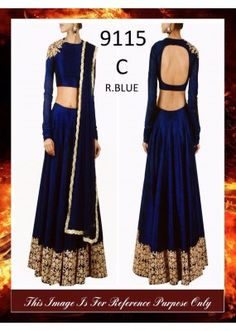 Bollywood Replica - Designer Royal Blue Raw Silk Lehenga Choli - 9115-C-RB