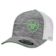 36fd818b9c697 The Ariat Heather Grey and Lime cap features adjustable snap back closure