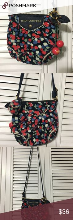 Juicy Couture Bag Cute Juicy Couture Cherry print bag. Adjustable shoulder strap. In excellent condition. Inside Signature and flannel lining. Inside open pocket. Navy color. Juicy Couture Bags