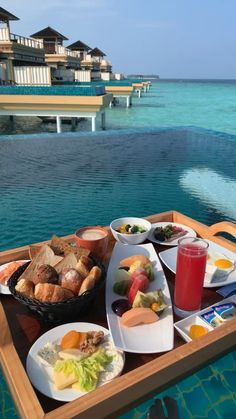 "Definitely adding ""breakfast in my overwater bungalow's private pool in the Maldives"" to my bucket list! Vacation Places, Dream Vacations, Vacation Spots, Honeymoon Places, Greece Vacation, Honeymoon Destinations, The Places Youll Go, Cool Places To Visit, Places To Go"