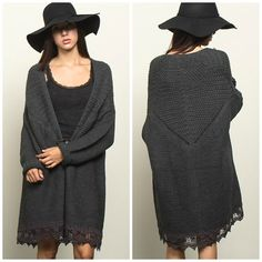 Oversized Cardigan With Crochet Trim - Charcoal