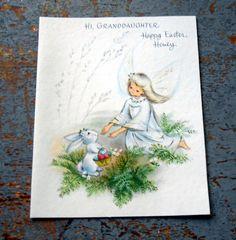Vintage Greeting Card Easter Hallmark Granddaughter by TheBackShak, $2.50