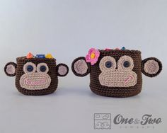Instant Download -  PDF CROCHET PATTERN - Monkey Crochet Baskets - 2 sizes - Permission to Sell Finished Items