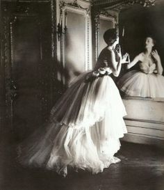 Model in a Dior ballgown. Photo by Louise Dahl-Wolfe.