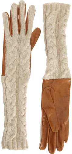 BARNEYS NYC Cashmere Cable Knit Gloves .❤♔Life, likes and style of Creole-Belle ♥