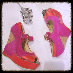 """Gianni Binni Neon Cork Platform Wedges These adorable pink and red platform cork wedges are gently loved and very comfortable.  The wedge is 5.5"""" and the platform is 1.5"""".  Size 7 Gianni Bini Shoes Platforms"""