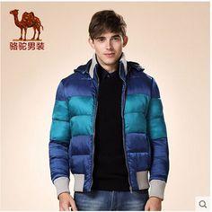 Camel men's winter coat high quality thick light bright blue color cotton ourterwear zipper male jacket