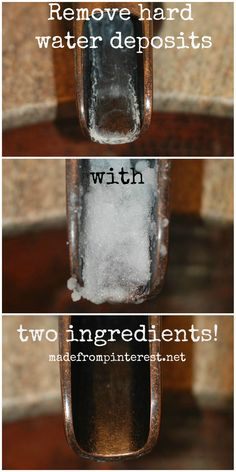 Remove Hard Water Deposits with just two ingredients: salt & cleaning vinegar. http://www.madefrompinterest.net/2014/03/remove-hard-water-deposits/