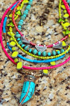 Neon Green, Pink, and Blue Glass and Turquoise Tusk Pendant Necklace