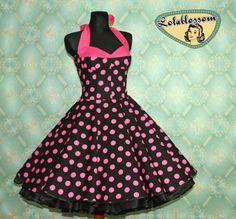 50&-39-s vintage dress full skirt black white pink polka dots Retro ...