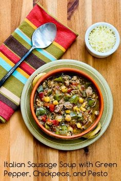 Italian Sausage Soup with Green Pepper, Chickpeas, and Pesto is a delicious Low-Carb soup that's quick and easy to make. [from KalynsKitchen.com] #DeliciouslyHealthyLowCarb