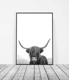 Highland Cow Print, Modern Wall Art Print, Scandinavian Artwork, Boho Home Decor, Black and White Print, Rustic Decor, Wall Art Bedroom. By Little Ink Empire on Etsy