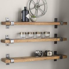 23 Charming Cottage Kitchen Design and Decorating Ideas that Will Bring Coziness to Your Home - The Trending House Industrial Floating Shelves, Floating Shelves Diy, Rustic Shelves, Glass Shelves, Brackets For Shelves, Farmhouse Shelving, Floating Shelf Brackets, Building Floating Shelves, Rustic Farmhouse