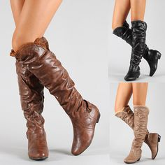 Womens Shoes Over the Knee Thigh High Slouchy Flat Boots Black