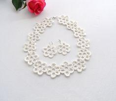 Crochet lino collana bracciale e orecchini Set di CraftsbySigita