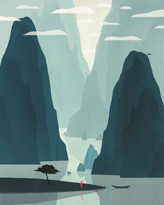 Chinese Landscape 2 Illustration by Dadu Shin. Lovely colour washes
