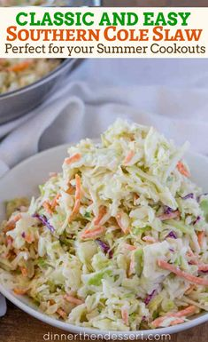 A Traditional Coleslaw Recipe with creamy coleslaw dressing in 5 minutes! This basic coleslaw recipe is an easy side dish made with shredded lettuce mix. Side Dishes Easy, Side Dish Recipes, Dinner Recipes, Restaurant Recipes, Vegetable Recipes, Vegetarian Recipes, Cooking Recipes, Healthy Coleslaw Recipes, Salad Recipes