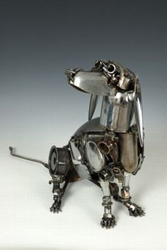assemblage robot dog via pro-steampunk Dog Sculpture, Animal Sculptures, Sculpture Ideas, Metal Sculptures, Abstract Sculpture, Steampunk Kunst, Steampunk Animals, Dachshund Art, Scrap Metal Art
