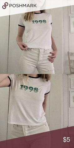1998 T-Shirt Crop t-shirt, well worn in but very cute and great vintage vibes. Forever 21 but tagged as Brandy Melville for exposure. Brandy Melville Tops Tees - Short Sleeve