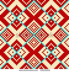 Trendy, contemporary ethnic seamless pattern, embroidery cross, squares, diamonds, chevrons