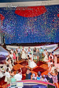 Confetti falls down on the dance floor at Atlantic Dance Hall #confetti #reception #dancefloor #Disney #wedding #AtlanticDanceHall