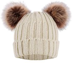 bf8d345268a Simplicity Womens Winter Cable Knit Faux Fur Pompom Ears Beanie Review Knit Beanie  Hat