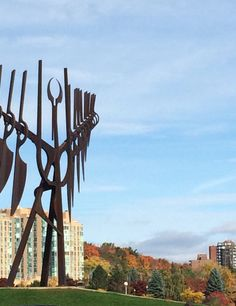 Sunny fall day at the waterfront in Barrie Ontario.